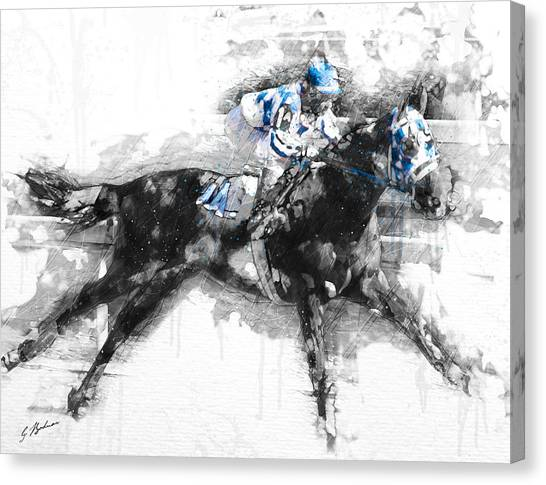 Thoroughbreds Canvas Print - Secretariat Triple Crown 73 by Gary Bodnar