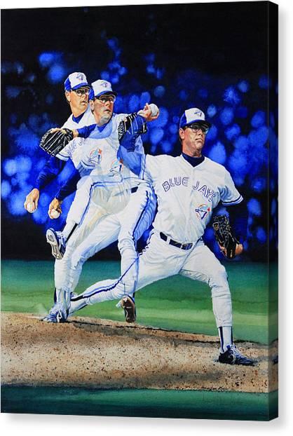 Toronto Blue Jays Canvas Print - Triple Play by Hanne Lore Koehler