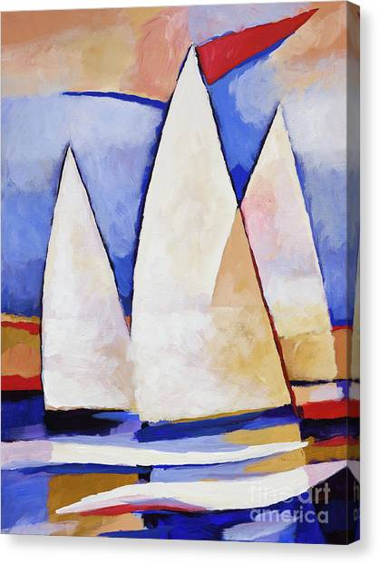 Boat Canvas Print - Triple Sails by Lutz Baar