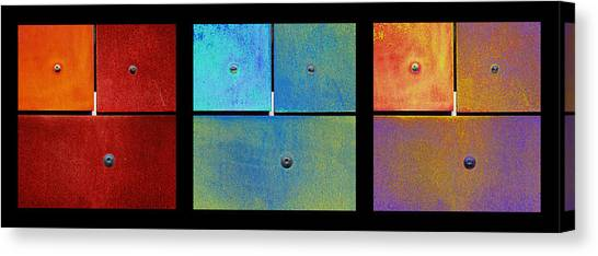 Canvas Print featuring the photograph Triptych Red Cyan Purple - Colorful Rust by Menega Sabidussi