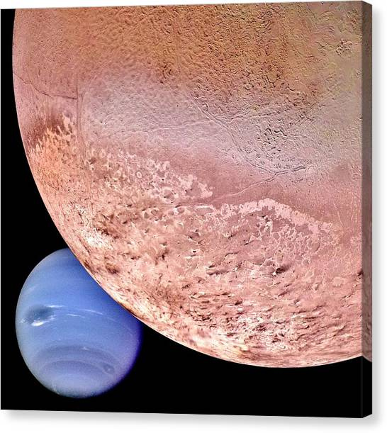 Cosmic Space Canvas Print - Triton And Neptune by Benjamin Yeager