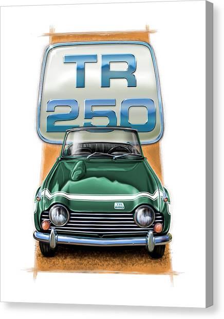 Checks Canvas Print - Triumph Tr-250 Sportscar In Dark Green by David Kyte