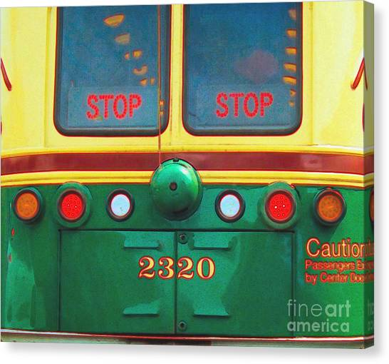 Trolley Car - Digital Art Canvas Print