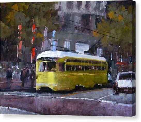 Robert Frank Canvas Print - Trolly On Market Street by Robert Frank