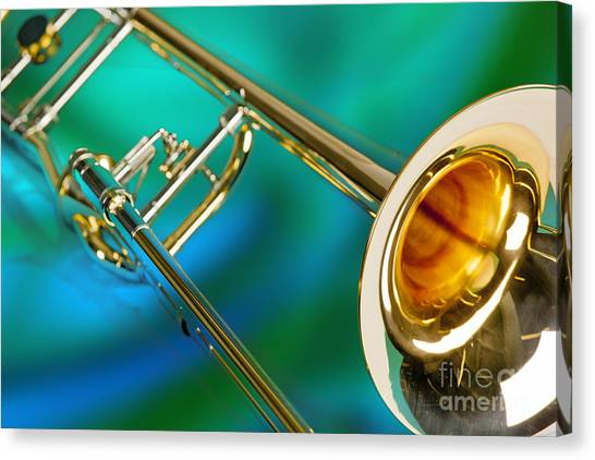 Trombones Canvas Print - Trombone Against Green And Blue In Color 3204.02 by M K Miller