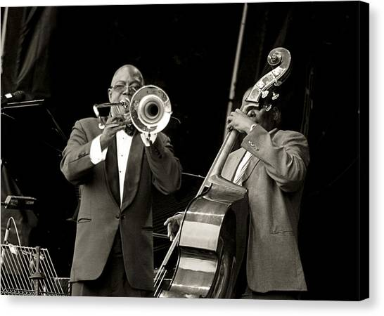 Trombone And Bass Canvas Print by Tony Reddington