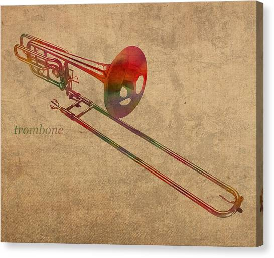Trombones Canvas Print - Trombone Brass Instrument Watercolor Portrait On Worn Canvas by Design Turnpike