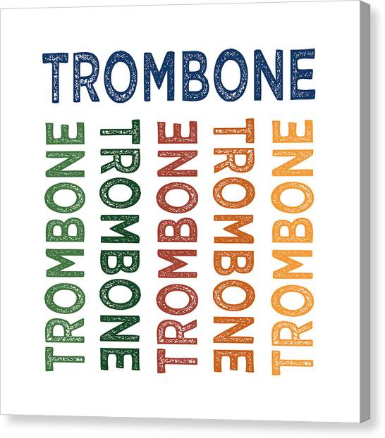 Trombones Canvas Print - Trombone Cute Colorful by Flo Karp