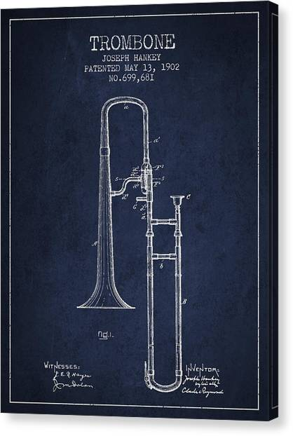Trombones Canvas Print - Trombone Patent From 1902 - Blue by Aged Pixel