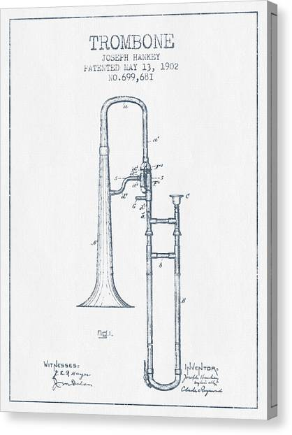 Trombones Canvas Print - Trombone Patent From 1902 - Blue Ink by Aged Pixel