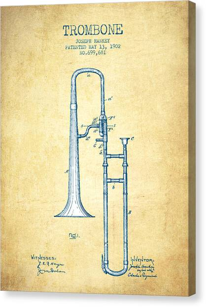 Trombones Canvas Print - Trombone Patent From 1902 - Vintage Paper by Aged Pixel