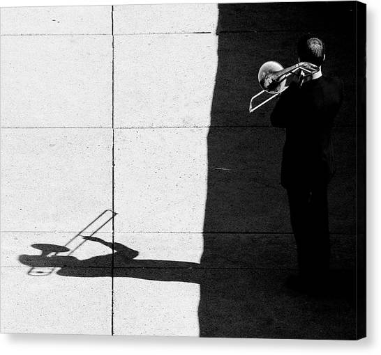 Trombones Canvas Print - Trombone Player by Jian Wang