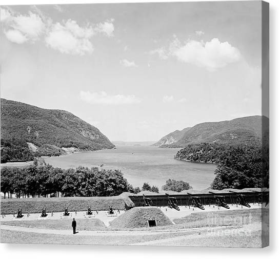 Trophy Point North Fro West Point In Black And White Canvas Print