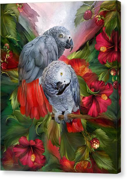 Parrots Canvas Print - Tropic Spirits - African Greys by Carol Cavalaris