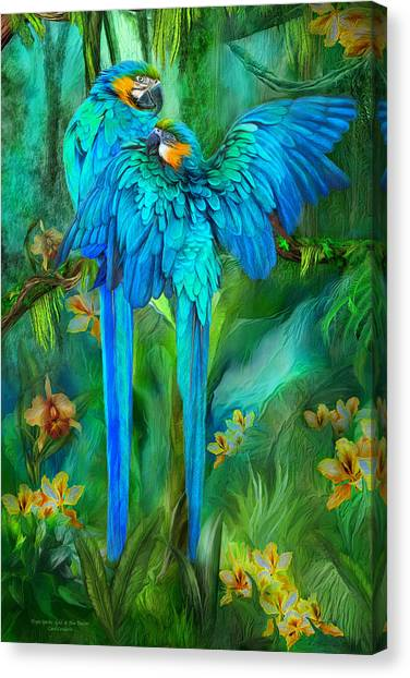 Tropic Spirits - Gold And Blue Macaws Canvas Print