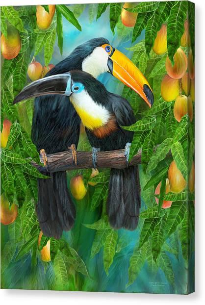 Mango Tree Canvas Print - Tropic Spirits - Toucans by Carol Cavalaris