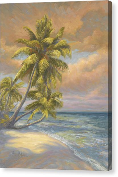 Palm Trees Sunsets Canvas Print - Tropical Beach by Lucie Bilodeau