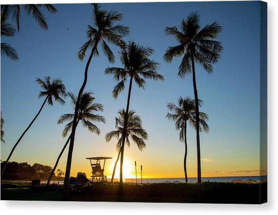 Palm Trees Sunsets Canvas Print - Tropical Beach Sunset, Kohala Coast by Douglas Peebles