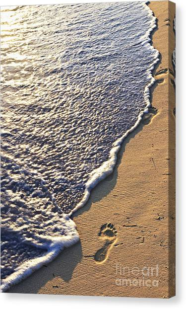 Sands Canvas Print - Tropical Beach With Footprints by Elena Elisseeva