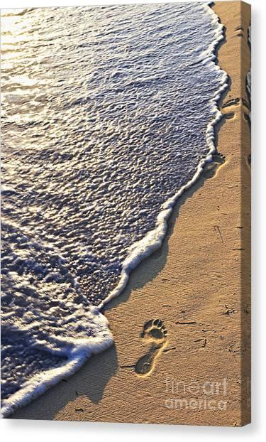 Tropical Beach With Footprints Canvas Print