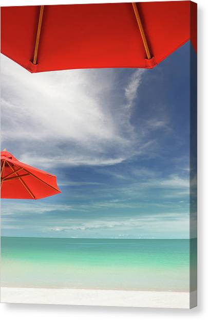Phi Phi Island Canvas Print - Tropical Beach With Sun Umbrellas Xxxl by 4fr