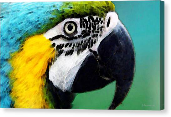 Macaws Canvas Print - Tropical Bird - Colorful Macaw by Sharon Cummings