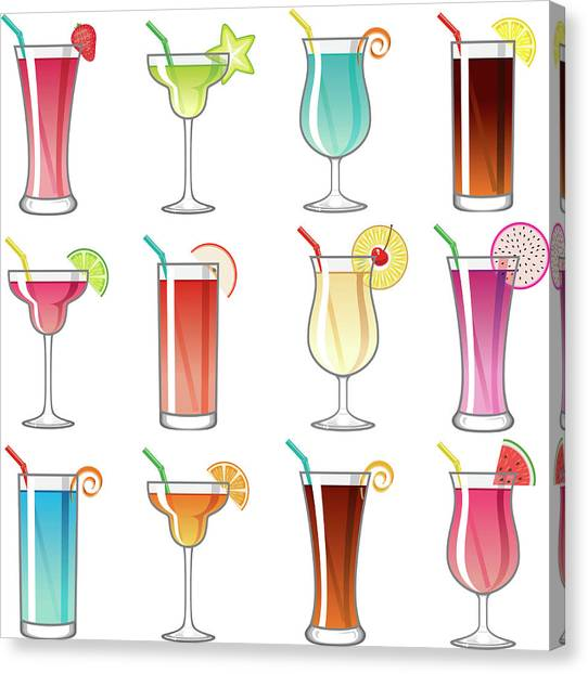 Tropical Cocktail Glass Icons Set Canvas Print