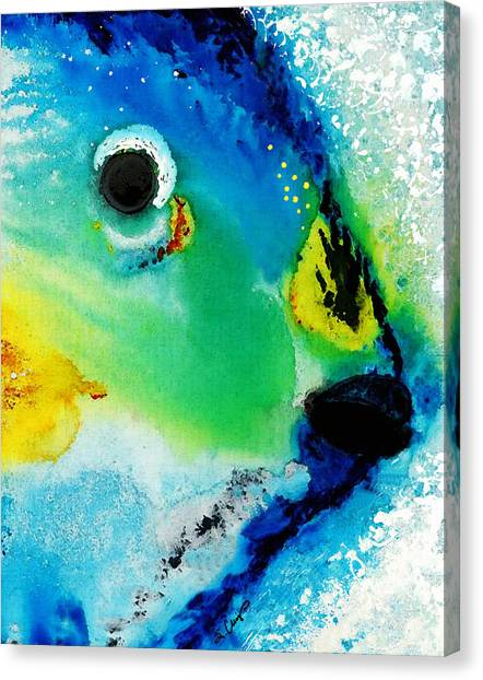 Parrots Canvas Print - Tropical Fish 2 - Abstract Art By Sharon Cummings by Sharon Cummings