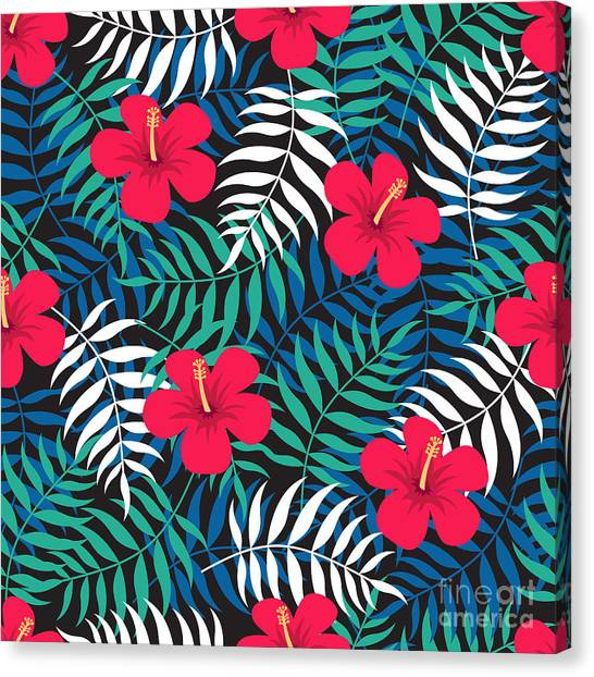 Printmaking Canvas Print - Tropical Floral Seamless Pattern With by Ekaterina Bedoeva