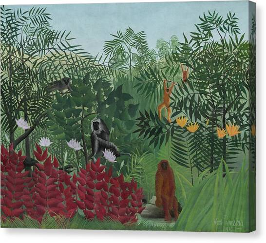 Tropical Rainforests Canvas Print - Tropical Forest With Monkeys by Henri J F Rousseau