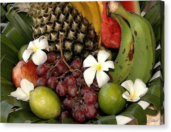 Tropical Fruit Basket Canvas Print by Cole Black