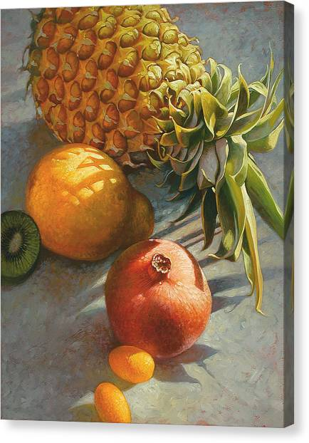 Kiwis Canvas Print - Tropical Fruit by Mia Tavonatti