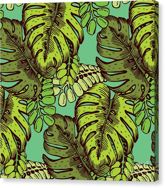 Orchids Canvas Print - Tropical Leaves Pattern by Tom And Kwikki