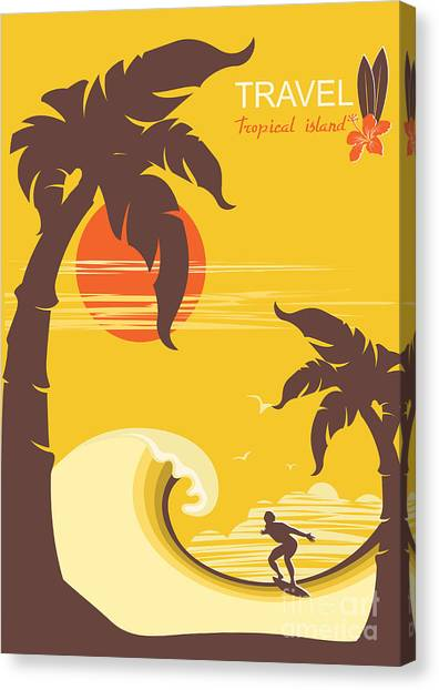 Surfboard Canvas Print - Tropical Paradise With Palms Island And by Tancha