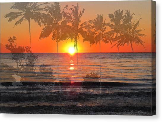 Beach Sunsets Canvas Print - Tropical Spirits - Palm Tree Art By Sharon Cummings by Sharon Cummings