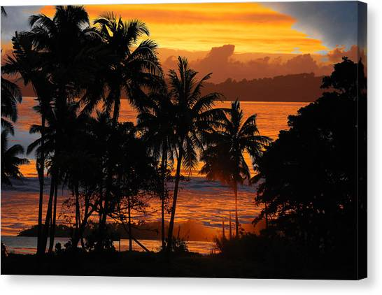 Canvas Print featuring the photograph Tropical Sunset In Blues by Jocelyn Friis