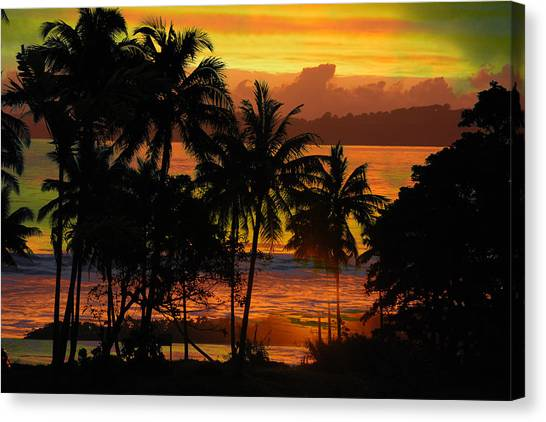 Tropical Sunset In Greens Canvas Print