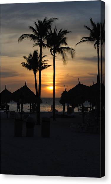 Tropical Sunset Canvas Print by Linda  Barone