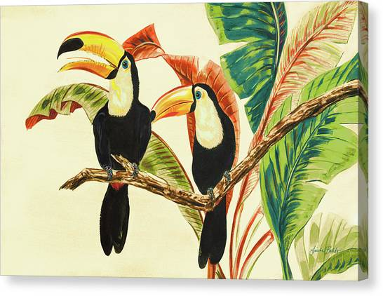 Toucans Canvas Print - Tropical Toucans I by Linda Baliko