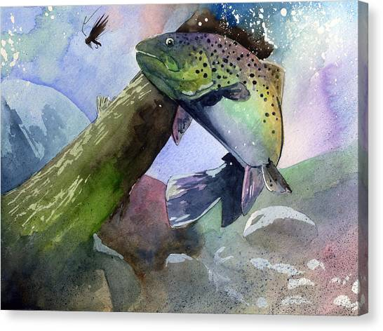 Trout And Fly Canvas Print
