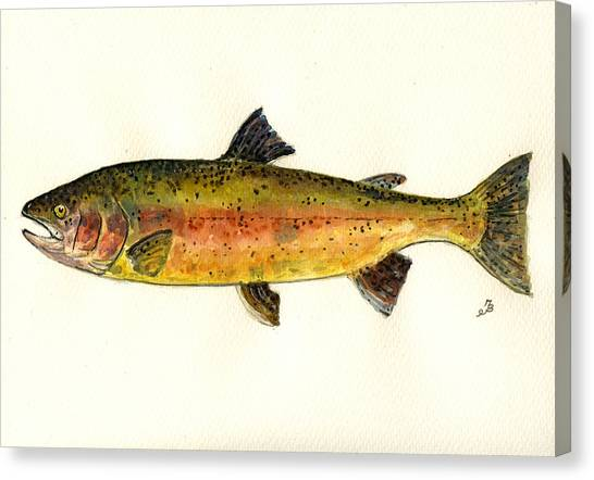Salmon Canvas Print - Trout Fish by Juan  Bosco