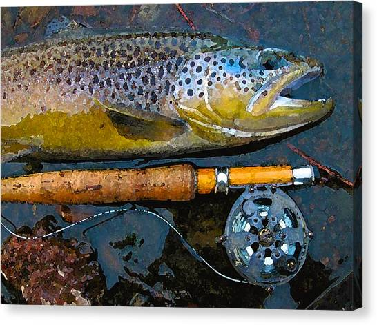 Trout On Fly Canvas Print by Lina Tricocci