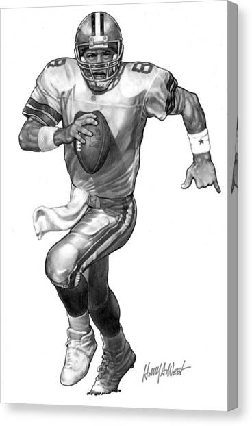Dallas Cowboys Canvas Print - Troy Aikman by Harry West