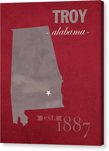 Troy University Troy Canvas Print - Troy University Trojans Alabama College Town State Map Poster Series No 113 by Design Turnpike