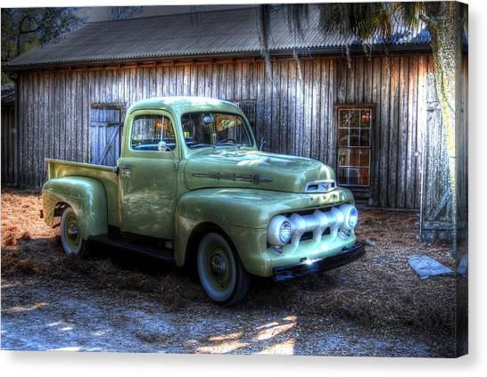 Truck By The Barn Canvas Print