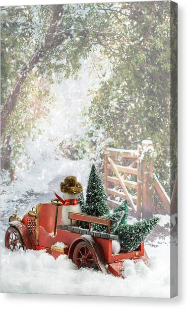 Snowball Canvas Print - Truck Carrying Christmas Trees by Amanda Elwell