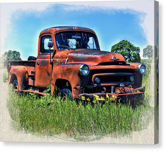 Canvas Print featuring the photograph Truck In The Grass by William Havle