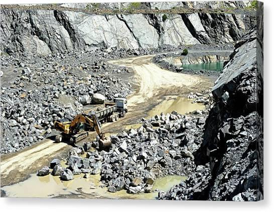 Truck Loaded In Open Pit Gravel Mine Canvas Print by Sproetniek
