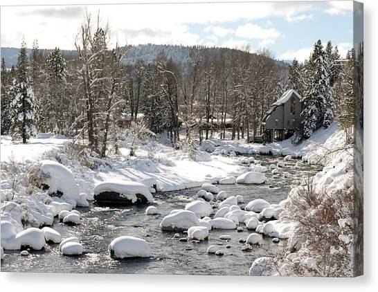 Truckee River At Christmas Canvas Print by Denice Breaux