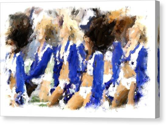 Dallas Cowboys Cheerleaders Canvas Print - True Blue by Carrie OBrien Sibley